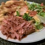 Barbecue Pulled Pork, served with Salad and Slimming World Chips